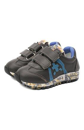 Детские кожаные кроссовки PREMIATA WILL BE серого цвета, арт. LUCY V/11-21312/T0D | Фото 1 (Материал внутренний: Натуральная кожа; Кросс-КТ: велькро)