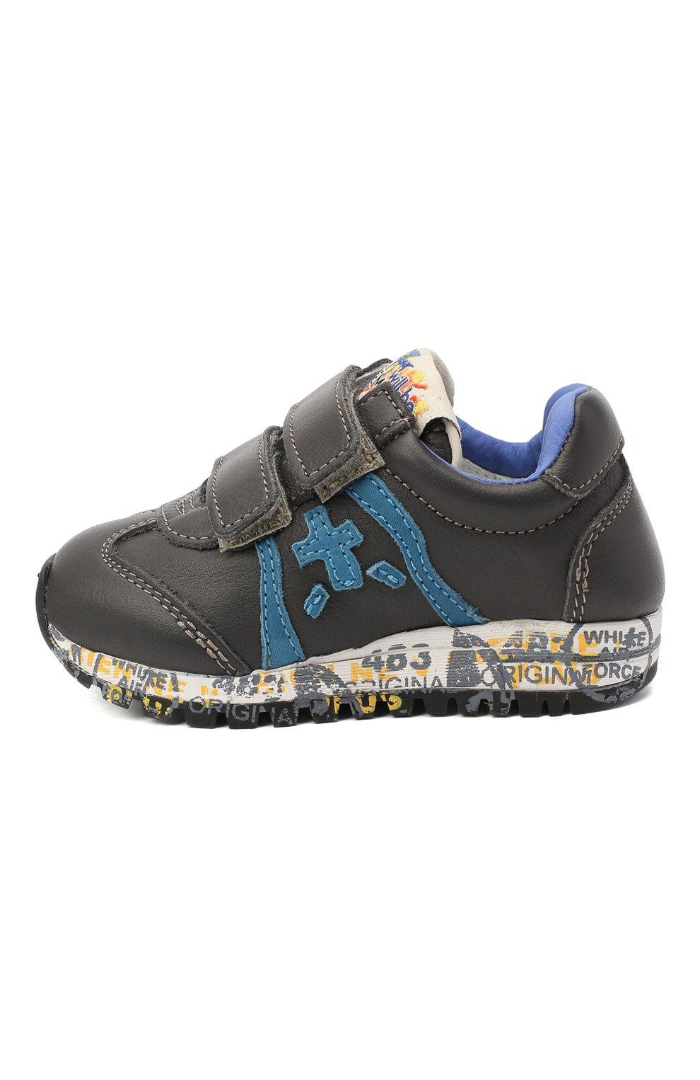 Детские кожаные кроссовки PREMIATA WILL BE серого цвета, арт. LUCY V/11-21312/T0D   Фото 2 (Материал внутренний: Натуральная кожа; Стили: Гранж; Кросс-КТ: велькро)