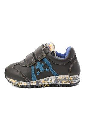 Детские кожаные кроссовки PREMIATA WILL BE серого цвета, арт. LUCY V/11-21312/T0D | Фото 2 (Материал внутренний: Натуральная кожа; Кросс-КТ: велькро)