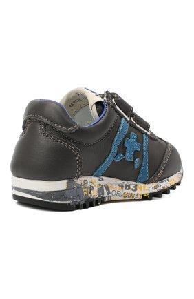 Детские кожаные кроссовки PREMIATA WILL BE серого цвета, арт. LUCY V/11-21312/T0D   Фото 3 (Материал внутренний: Натуральная кожа; Стили: Гранж; Кросс-КТ: велькро)