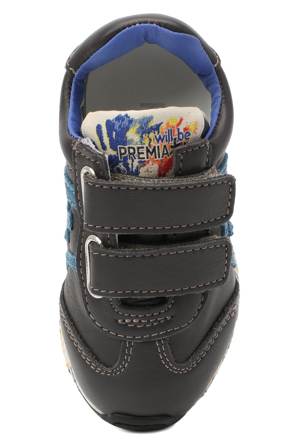 Детские кожаные кроссовки PREMIATA WILL BE серого цвета, арт. LUCY V/11-21312/T0D   Фото 4 (Материал внутренний: Натуральная кожа; Стили: Гранж; Кросс-КТ: велькро)