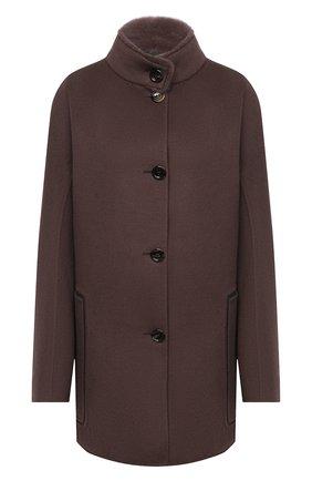 Женское пальто из шерсти и кашемира MANZONI24 коричневого цвета, арт. 20M701-DB1V/48-52   Фото 1