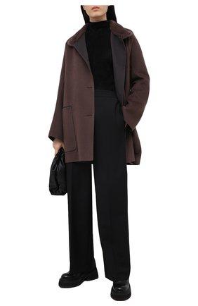 Женское пальто из шерсти и кашемира MANZONI24 коричневого цвета, арт. 20M701-DB1V/48-52   Фото 2