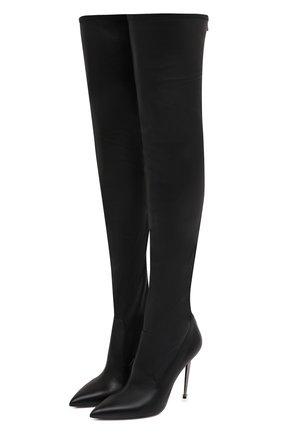 Женские кожаные ботфорты TOM FORD черного цвета, арт. W2771R-LSP012 | Фото 1 (Каблук высота: Высокий; Материал внутренний: Натуральная кожа; Материал внешний: Кожа; Высота голенища: Высокие; Подошва: Плоская; Каблук тип: Шпилька)