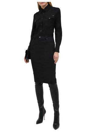 Женские кожаные ботфорты TOM FORD черного цвета, арт. W2771R-LSP012 | Фото 2 (Каблук высота: Высокий; Материал внутренний: Натуральная кожа; Материал внешний: Кожа; Высота голенища: Высокие; Подошва: Плоская; Каблук тип: Шпилька)