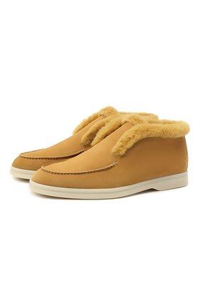 Женские замшевые ботинки LORO PIANA желтого цвета, арт. FAG3602 | Фото 1