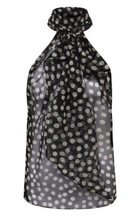 Женская шелковый топ SAINT LAURENT черно-белого цвета, арт. 641196/Y8B48 | Фото 1