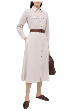 Женское шерстяное платье BRUNELLO CUCINELLI кремвого цвета, арт. MA163A4629 | Фото 2