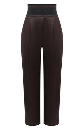 Женские кожаные брюки BRUNELLO CUCINELLI коричневого цвета, арт. M0TANP7486 | Фото 1
