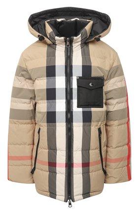 Женский пуховая куртка BURBERRY бежевого цвета, арт. 8033430 | Фото 1