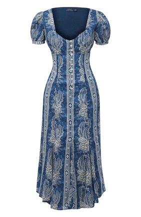 Женское хлопковое платье POLO RALPH LAUREN синего цвета, арт. 211811218 | Фото 1