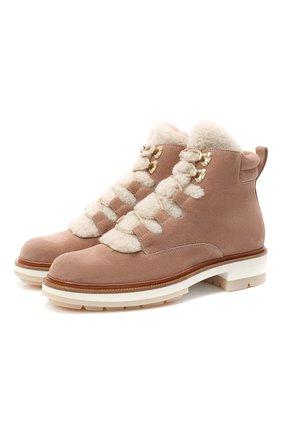 Женские замшевые ботинки SANTONI светло-розового цвета, арт. WTSL58814R0CAYPBP45 | Фото 1