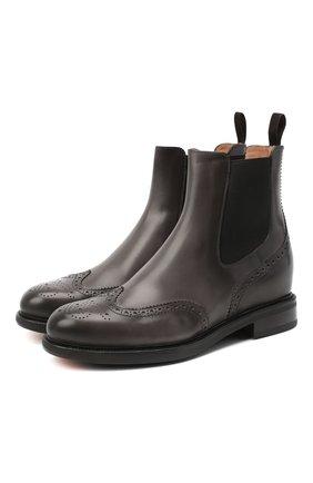 Женские кожаные ботинки SANTONI серого цвета, арт. WTWK58153SMCDLESG23 | Фото 1