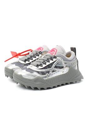 Женские комбинированные кроссовки odsy-1000 OFF-WHITE серебряного цвета, арт. 0WIA180F20FAB0017272 | Фото 1 (Подошва: Платформа; Материал внутренний: Текстиль; Материал внешний: Текстиль)