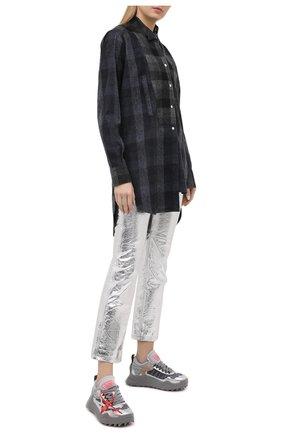 Женские комбинированные кроссовки odsy-1000 OFF-WHITE серебряного цвета, арт. 0WIA180F20FAB0017272 | Фото 2 (Подошва: Платформа; Материал внутренний: Текстиль; Материал внешний: Текстиль)