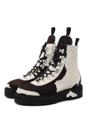 Женские кожаные ботинки OFF-WHITE коричневого цвета, арт. 0WID001F20LEA0010160 | Фото 1