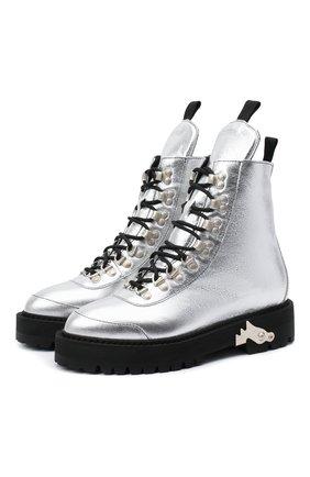 Женские кожаные ботинки OFF-WHITE серебряного цвета, арт. 0WID001F20LEA0027200 | Фото 1