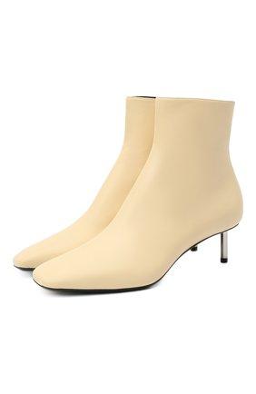Женские кожаные ботильоны OFF-WHITE  цвета, арт. 0WID004F20LEA0036100 | Фото 1 (Подошва: Плоская; Материал внутренний: Натуральная кожа; Каблук тип: Kitten heel; Каблук высота: Низкий)