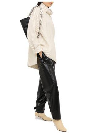 Женские кожаные ботильоны OFF-WHITE  цвета, арт. 0WID004F20LEA0036100 | Фото 2 (Подошва: Плоская; Материал внутренний: Натуральная кожа; Каблук тип: Kitten heel; Каблук высота: Низкий)