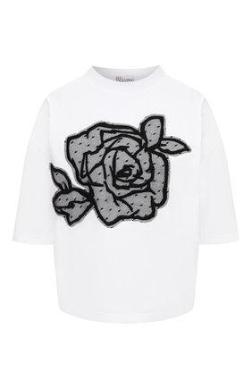 Женская хлопковая футболка REDVALENTINO черно-белого цвета, арт. UR0MG07U/5J7 | Фото 1