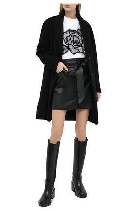 Женская хлопковая футболка REDVALENTINO черно-белого цвета, арт. UR0MG07U/5J7 | Фото 2