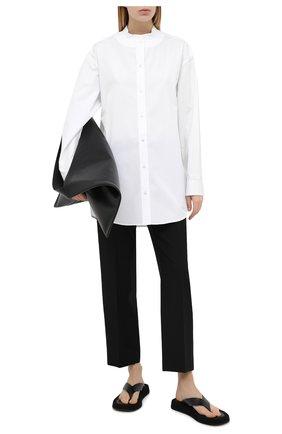 Женская хлопковая рубашка JIL SANDER белого цвета, арт. JSX0600205-W0244300   Фото 2