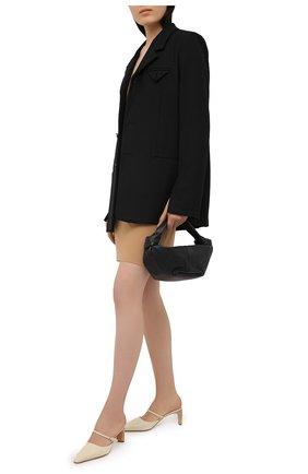 Женские кожаные мюли JIL SANDER кремвого цвета, арт. JS35112A-12011   Фото 2