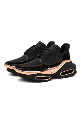 Женские кожаные кроссовки b bold BALMAIN черного цвета, арт. UN0C541/LSCE   Фото 1