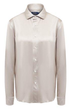 Женская шелковая рубашка POLO RALPH LAUREN серого цвета, арт. 211798122 | Фото 1