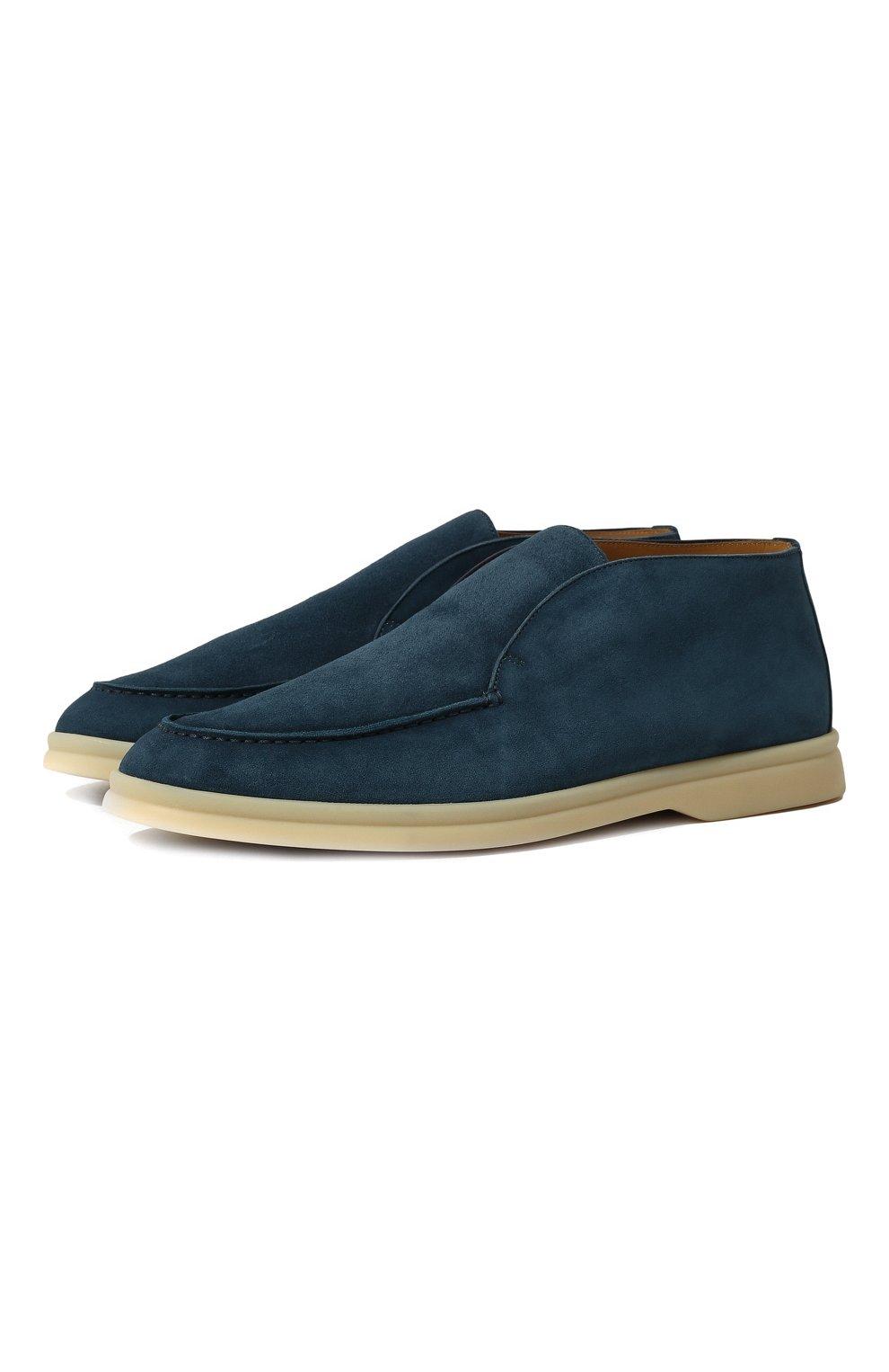 Женские замшевые ботинки open walk LORO PIANA синего цвета, арт. FAE9959   Фото 1