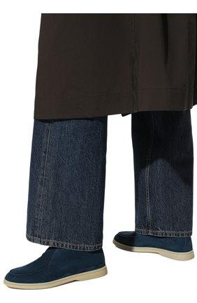 Женские замшевые ботинки open walk LORO PIANA синего цвета, арт. FAE9959   Фото 3