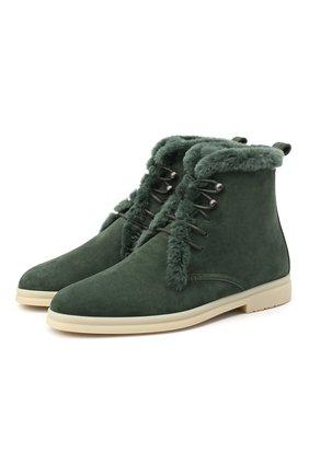 Женские замшевые ботинки ylvi walk LORO PIANA зеленого цвета, арт. FAF9366 | Фото 1