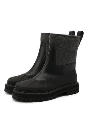 Женские комбинированные ботинки LORO PIANA черного цвета, арт. FAL4227 | Фото 1