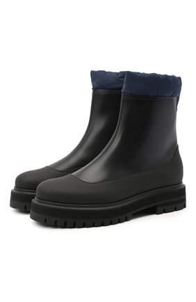 Женские кожаные ботинки LORO PIANA темно-синего цвета, арт. FAL4228 | Фото 1