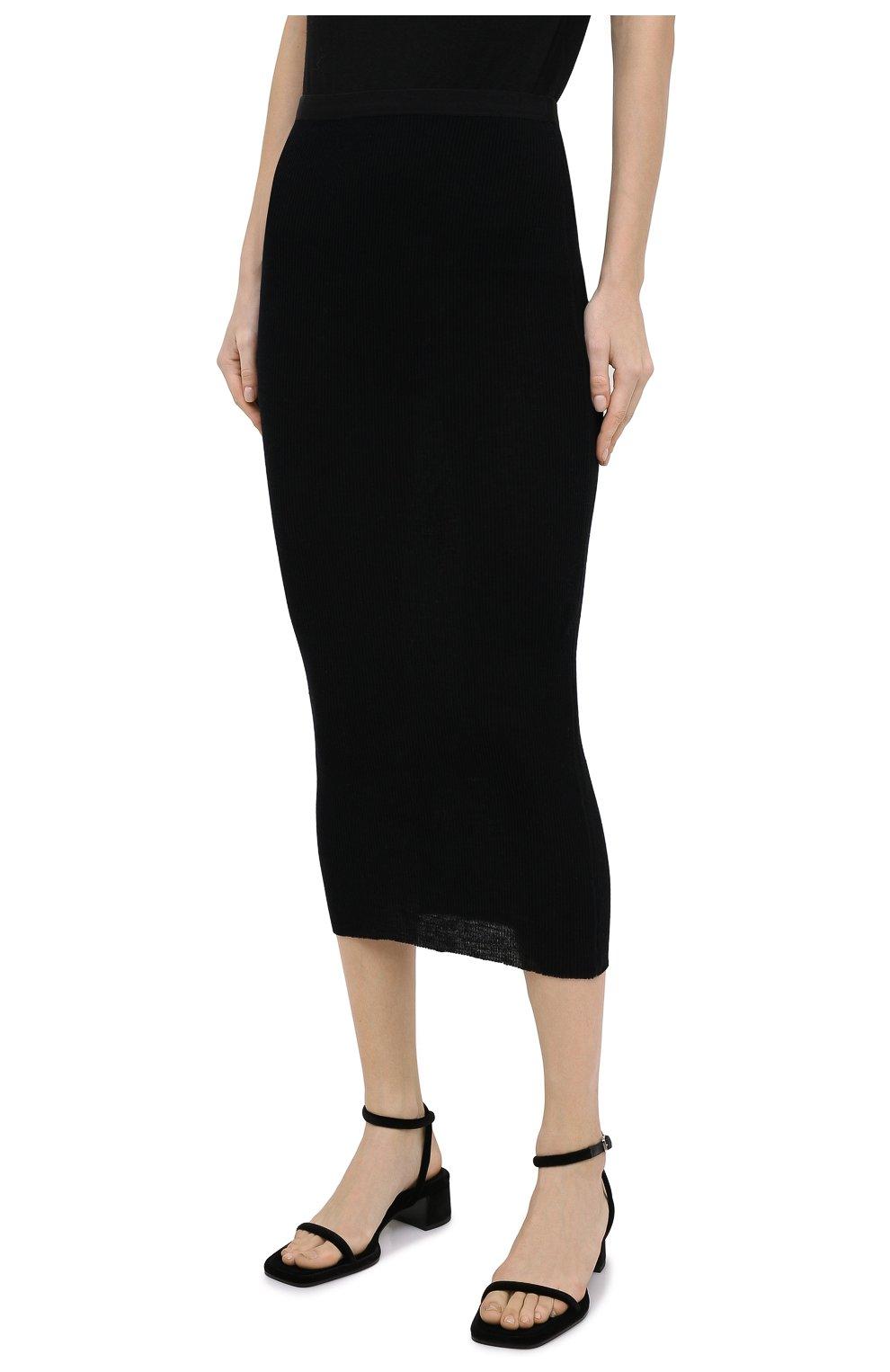 Женская шерстяная юбка THE ROW черного цвета, арт. 5308K323 | Фото 3