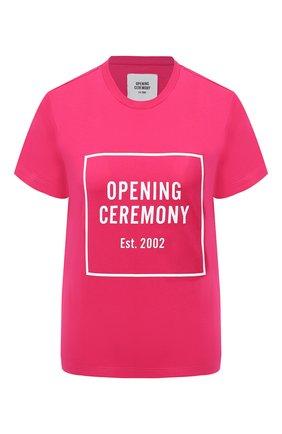 Женская хлопковая футболка OPENING CEREMONY фуксия цвета, арт. YWAA001E20JER001 | Фото 1