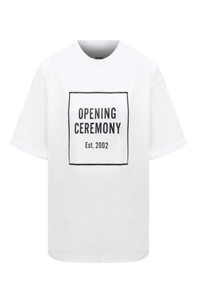 Женская хлопковая футболка OPENING CEREMONY черно-белого цвета, арт. YWAA005E20JER001 | Фото 1