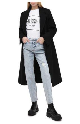 Женская хлопковая футболка OPENING CEREMONY черно-белого цвета, арт. YWAA005E20JER001 | Фото 2