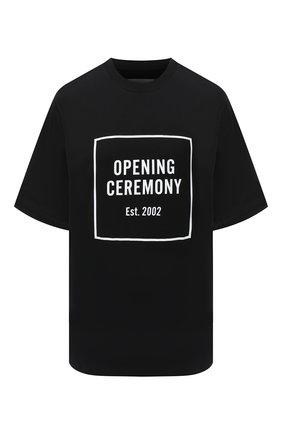 Женская хлопковая футболка OPENING CEREMONY черного цвета, арт. YWAA005E20JER001 | Фото 1