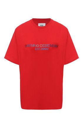 Женская хлопковая футболка OPENING CEREMONY красного цвета, арт. YWAA005E20JER006 | Фото 1