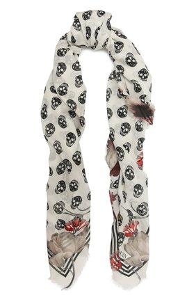 Женская шаль ALEXANDER MCQUEEN черно-белого цвета, арт. 631476/3418Q | Фото 1 (Материал: Текстиль)