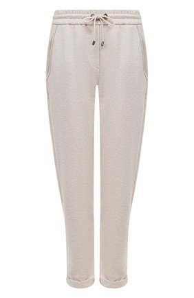 Женские хлопковые брюки BRUNELLO CUCINELLI светло-бежевого цвета, арт. MH827SA399 | Фото 1