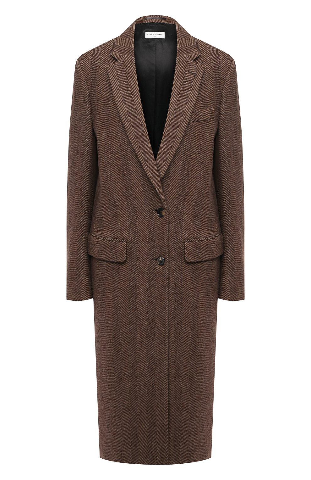 Женское шерстяное пальто DRIES VAN NOTEN коричневого цвета, арт. 202-10202-1035 | Фото 1