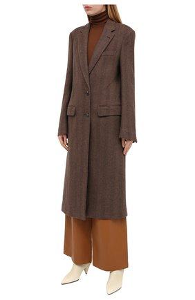 Женское шерстяное пальто DRIES VAN NOTEN коричневого цвета, арт. 202-10202-1035 | Фото 3
