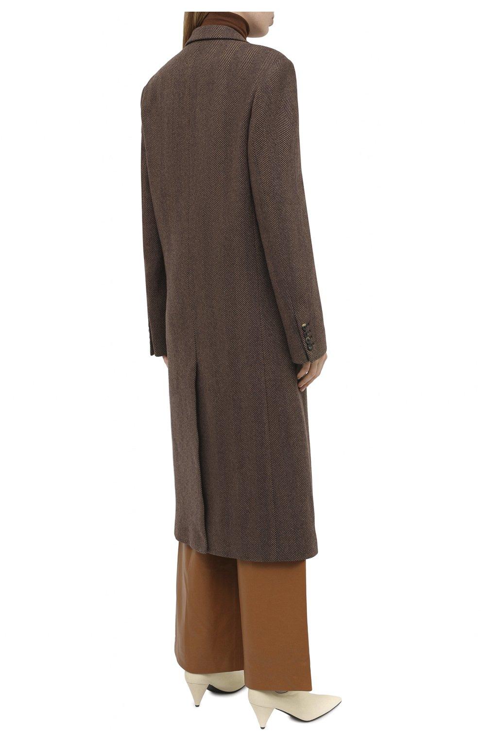 Женское шерстяное пальто DRIES VAN NOTEN коричневого цвета, арт. 202-10202-1035 | Фото 4