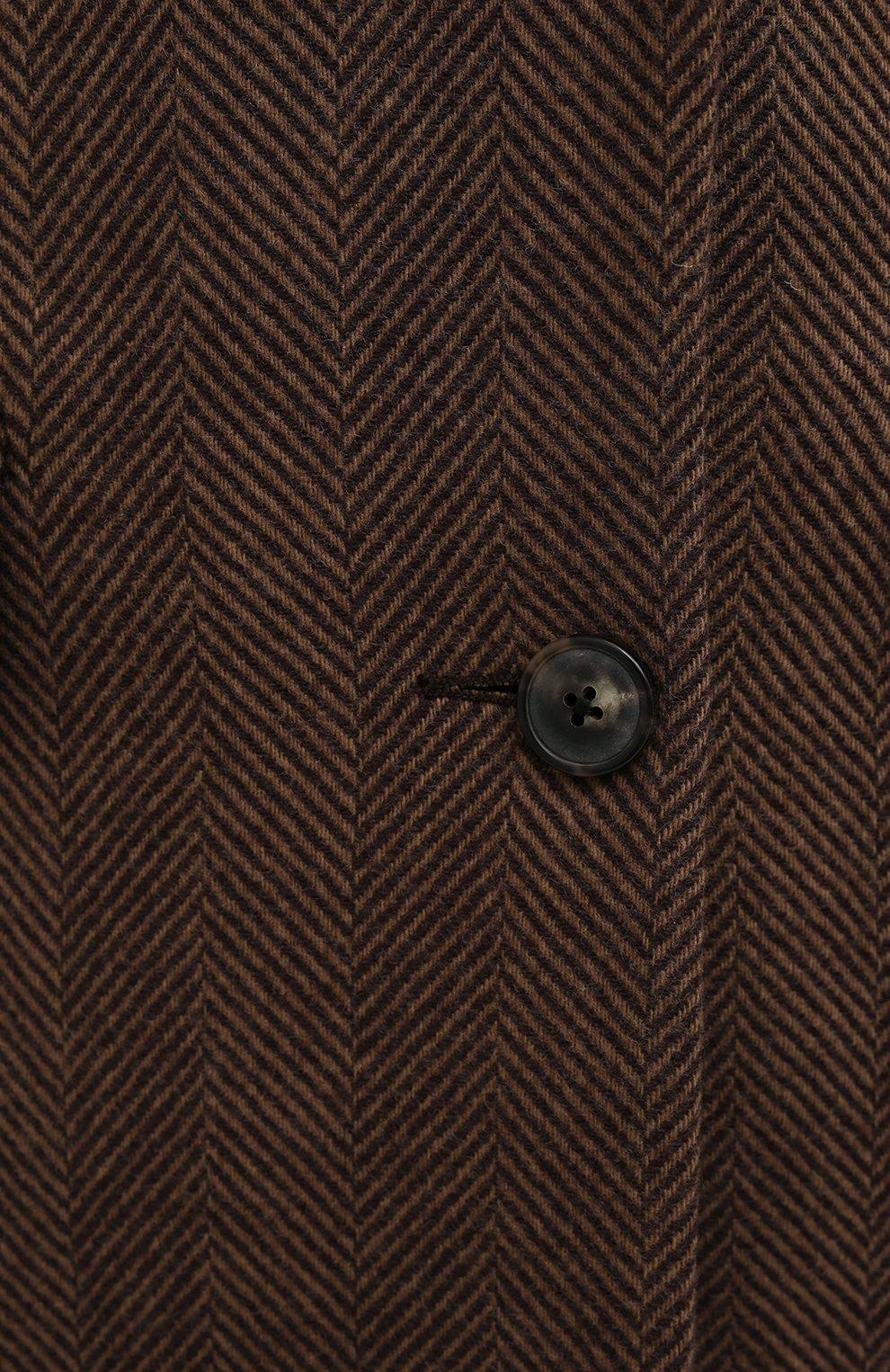 Женское шерстяное пальто DRIES VAN NOTEN коричневого цвета, арт. 202-10202-1035 | Фото 5