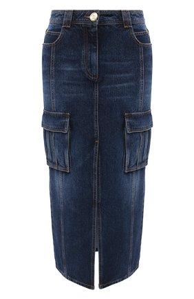 Женская джинсовая юбка BALMAIN синего цвета, арт. UF04490/D073 | Фото 1