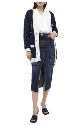 Женская джинсовая юбка BALMAIN синего цвета, арт. UF04490/D073 | Фото 2