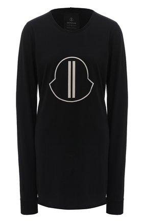 Женская хлопковый лонгслив rick owens + moncler RICK OWENS черного цвета, арт. MU20F0014/V8170 | Фото 1