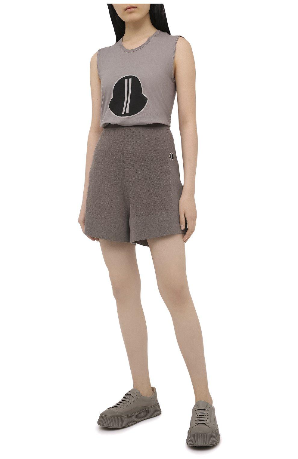 Женские шорты rick owens + moncler RICK OWENS серого цвета, арт. MU20F0019/A9454 | Фото 2 (Женское Кросс-КТ: Шорты-одежда; Материал внешний: Шерсть, Кашемир, Хлопок; Длина Ж (юбки, платья, шорты): Мини)